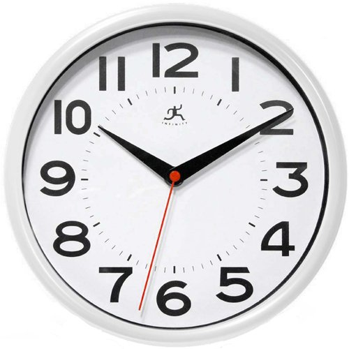 Infinity Instruments Metro White 9-Inch Resin Wall Clock ()