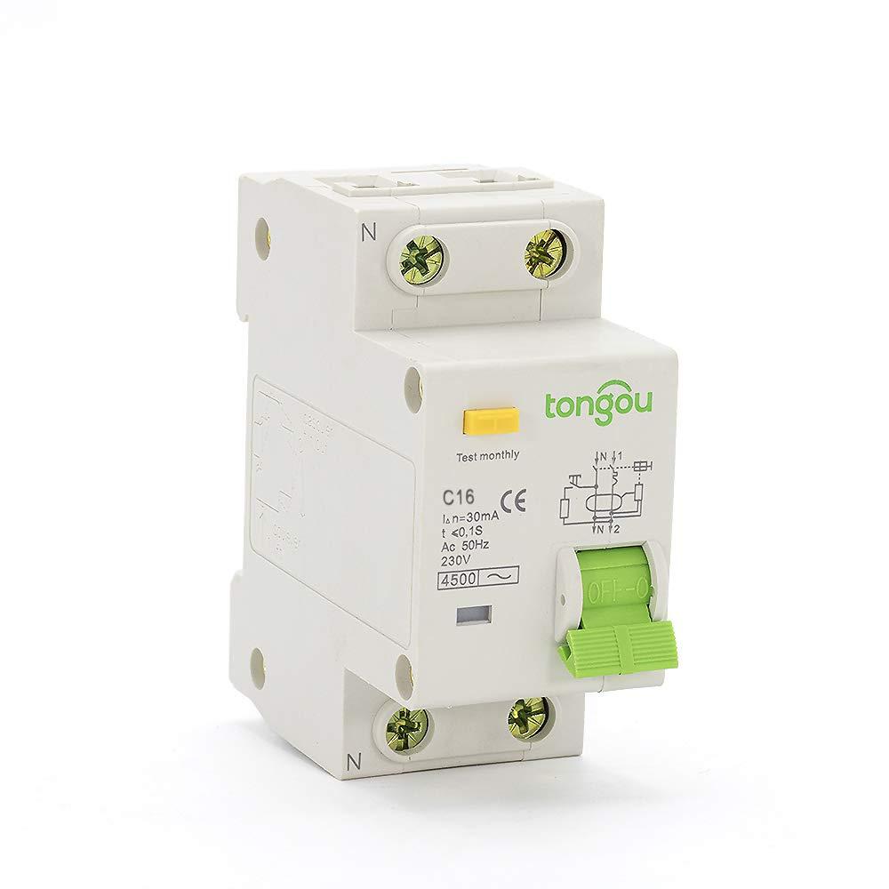 TONGOU 16 Amp Type C 3kA Breaking Capacity 30mA Sensitivity Double Pole RCBO