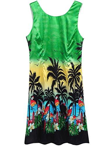 Bird Sleeveless (Halife Women's Summer Sleeveless Bird Printed Floral Beach Wear Mini Sundress Green,L)