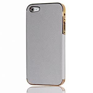 Grey/Gold Frame Luxury Leather Chrome Hard Back Case - Candy Case Cover - iPhone 5 5G
