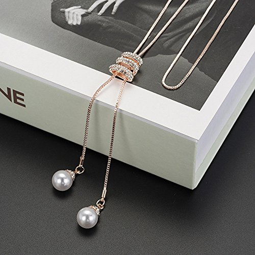 - Wensltd Clearance! Women's Luxury Crystal Pearls Pendant Necklace Sweater Chains (Rose Gold)