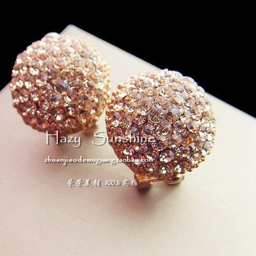 (Rome Italy original single sparkling diamond club ultra-flash diamond oval earrings earrings ear clip button )