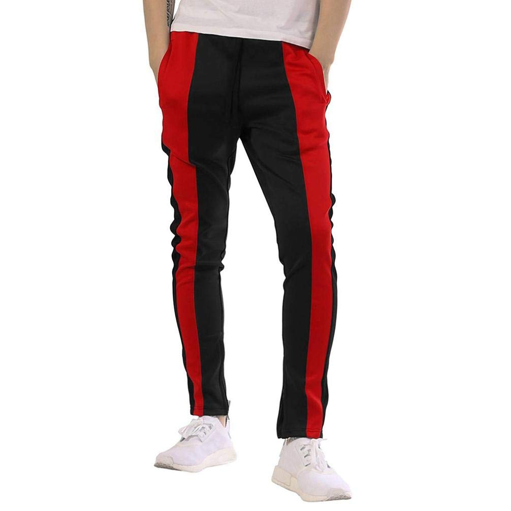 WUAI Clearance Mens Pants Outdoors Casual Loose Fit Drawstring Elastic Waist Fashion Sport Jogging Fitness Pant(Black,US Size M = Tag L)