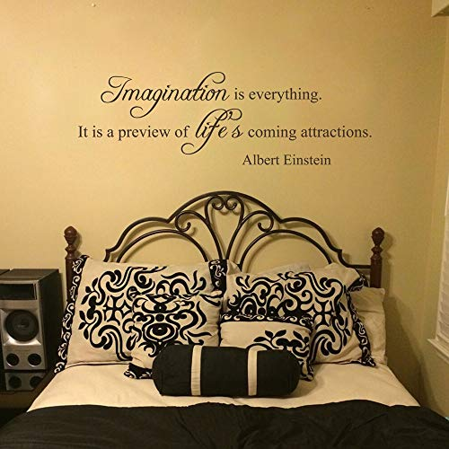 iopada Stickers Vinyl Wall Art Decals Letters Quotes Decoration Imagination is Everything It is A Preview of Life's Coming Attractions for Bedroom Living Room -