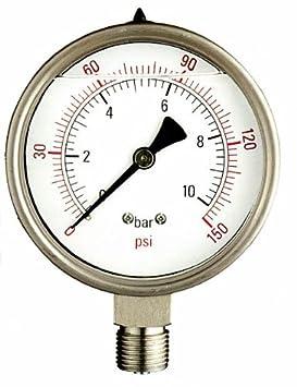 Valbrass 0-100 BAR MANOMETRO Dn.100 CON GLICERINA CORPO IN INOX ATTACCO 1/2' RADIALE