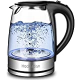 HadinEEon Electric Kettle Glass Boiler Coffee Pot, Food Grade FDA Approved, 304 Stainless Steel Inner Lid and Bottom, 1500 Watts 7 Big Cups 1.8 Liter with Quick Auto Shut Off Boil