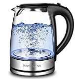Electric Kettle Glass Kettle Tea Kettle 1500 Watts, 7 Big Cups 1.8 Liter with Quick Boil and Auto Shut off Boil Protection, Cordless Electric Kettle Food Grade FDA Approved, 304 Stainless Steel