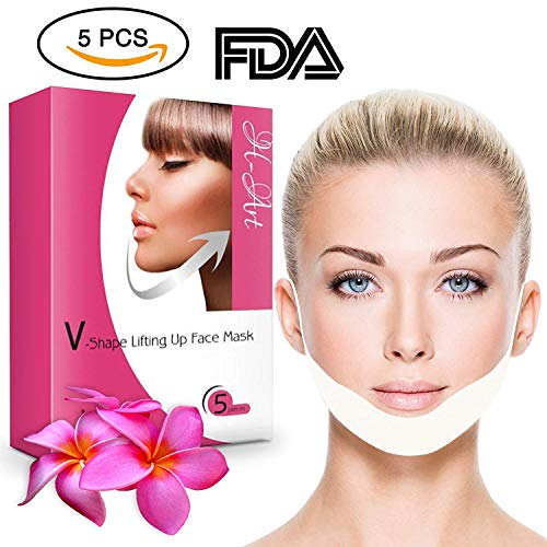Chin Up Patch, Face Lift, V line, Double Chin Reducer, Contour Lifting Firming Moisturizing Mask - 5 Strips ()