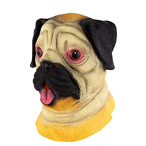 Party Pug Costume (Olibay Halloween Mask Scary Animal Pug Costume Ghost Cosplay Party Rotten Gums)