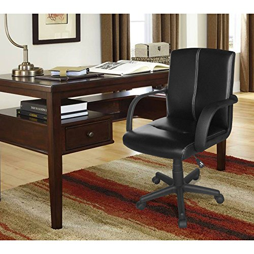 Tufted Leather Mid-Back Office Chair Multiple Colors Tufted leather effect and Sturdy Adjustable lever Spot clean armrests and can be used in any room Product Dimensions: 22.4'' W x 24.8'' x 35.4-39'' H by Mainstay