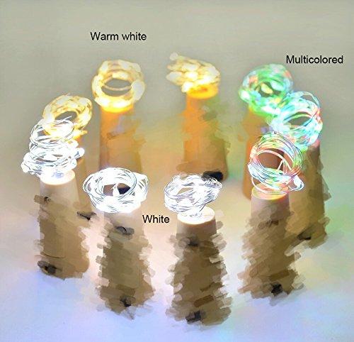 4 pcs Botellas con Luz, 10 LED Solar Corcho con Luz, Luz Botella para Fiesta Bodas Festival Conciertos Decoración ÁRboles Navidad (Blanco Cálido): ...