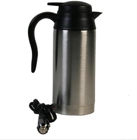 12V 750ml Acero inoxidable Calefacción del coche Taza de café Taza de café eléctrica Tipo de termo Calefacción Bebida caliente Copa de viaje Cafetera de acero: Amazon.es: Hogar