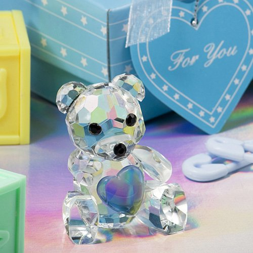 Crystal Collection Teddy Bear Figurines with Blue Heart (Crystal Accent Teddy Bear)