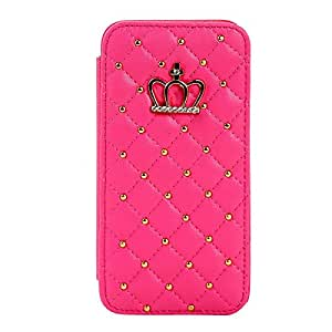 RASK Luxury Flip PU Leather Shiny Rhinestone Crown Stand Premium Wallet Case for iPhone 6 4.7 inch Red