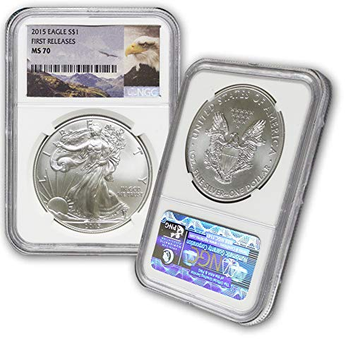 - 2015 American Silver Eagle $1 MS70 NGC First Releases-Eagle Label
