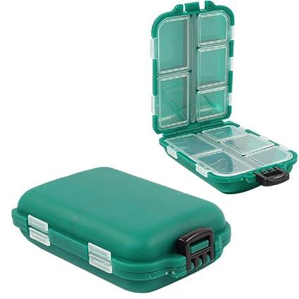 Chytaii 2pcs Caja para Aparejos de Pesca Caja de Almacenamiento con 10 Compartimentos para Pesca Caja