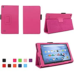 Case for All-New Fire 7 2017 - Premium Folio Case for All-New Fire 7 Tablet with Alexa 7th Generation - Hot Pink
