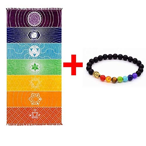 OUTOS Thick Square Bohemia Mandala Yoga Blanket Pure Cotton 7 Chakra Yoga Towel Tassels Rainbow Tapestry Stripes Beach Towel Yoga Mat with Lucky Beads 59x29.5 inch