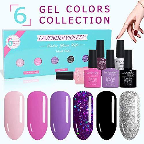 Gel Nail Polish Kit Set of 6 Color UV LED Soak Off Gel 8ml Professional for Home Salon Nail Art F820/DC07 ()