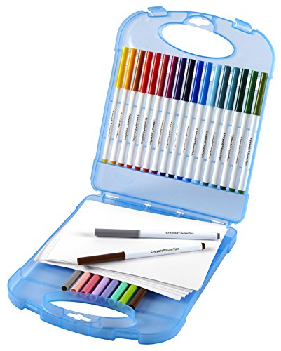 Crayola Super Tips Washable Markers & Paper Set, 65 Pieces Art Tools for Kids 4 & Up, Super Tips Markers & Drawing Paper Sheets In Convenient Travel Case, Perfect for The On-The-Go Artist