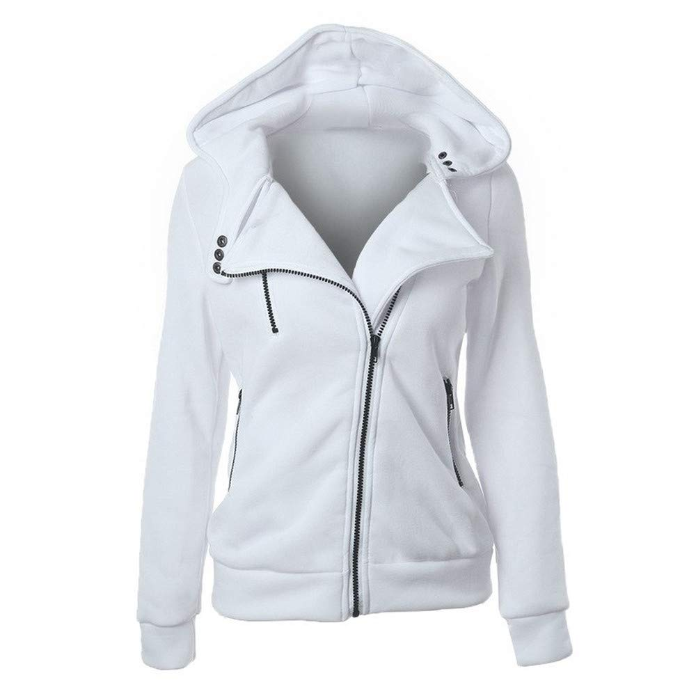 NClie-wk Spring Zipper Warm Hoodies Women Long Sleeve Hoodies Jackets Hoody Jumper Overcoat Outwear Female Sweatshirts,White,XXXL,China