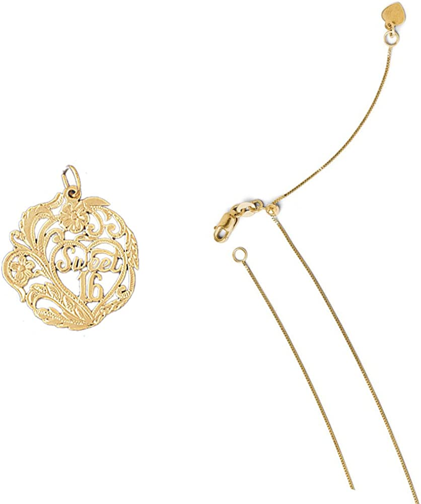 14K Yellow Gold Sweet 16 Pendant on an Adjustable 14K Yellow Gold Chain Necklace