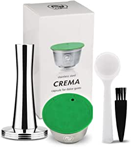 i Cafilas Dolce Gusto Reusable Capsules Stainless Steel Refillable Coffee Capsule Compatible with Dolce Gusto Machine with Coffee Tamper 1 Spoon 1 Cleaning Brush