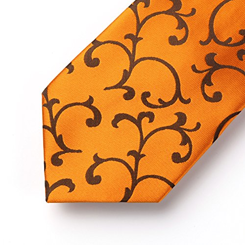Floral Square Men's Long Pocket Paisley Gold amp; amp; Orange Set Extra Tie Necktie Handkerchief HISDERN qEwvUnAxY