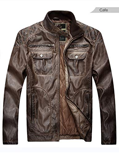 HUAN Bomber Jackets Coats Mens Casual PU Jacket Washed Do The Old Leather Coat Retro Outwear (Color : 1, Size : S) -