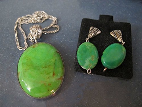 Necklace of Mohave Green Turquoise and Earrings, Stone from Kingman AZ, Sterling Silver Settings