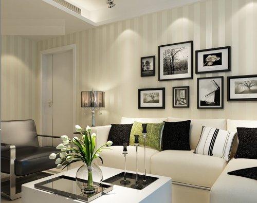 QIHANG European Modern Minimalist Country Luxury Stripe Wallpaper Roll for Living Room Bedroom Tv Backdrop Wall Beige Color by QIHANG (Image #1)