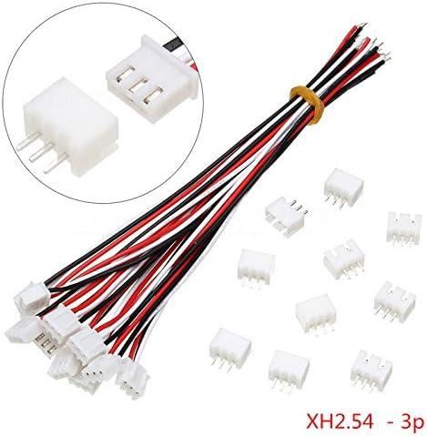 Conector de 3 pines 10sets Mini Micro JST XH 2,5 mm, cable de alambre 24 AWG, 150 mm