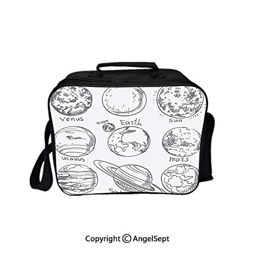Lunch Box Carry Case Handbags,Planets of Solar System Sun Mercury Earth Moon Mars Neptune Saturn Jupiter Science Black White 8.3inch,With Zipper For Adults Kids Teachers Workers (Solar School System Old)