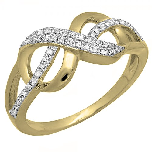 0.14 Carat (ctw) 18K Yellow Gold Plated Sterling Silver Round Diamond...