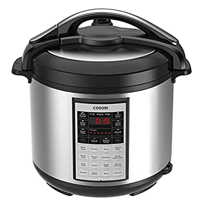 COSORI 8 Qt Premium 8-in-1 Programmable Multi-Cooker (Pressure Cooker, Rice Cooker, Steamer, Warmer, Etc.), 1000W, Includes Glass Lid, Sealing Ring and Recipe Book