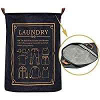 Collapsible Laundry Basket. Laundry Basket Stays Upright. Great for Teens or Students. Sturdy Denim Fabric with Leather Handles. Fold for Camping or Travel Waterproof Lining Suitable for Damp Towels.