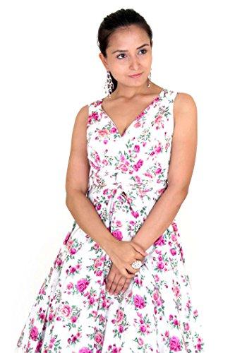 multicolore Multicolore Manche Sans Lavish Robe White Miss Fleurs Cocktail Femme Magenta Rw7a0FOqx