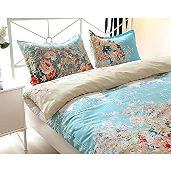 Vaulia Lightweight Microfiber Duvet Cover Sets, Vintage Floral Pattern Design - Full/Queen Size