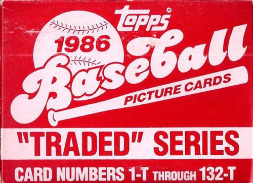 Topps Traded Factory (1986 Topps MLB Baseball Traded Series Complete Mint 132 Card Series Set in Original Factory Set Box with Barry Bonds Canseco Bo Jackson Rookie Cards)