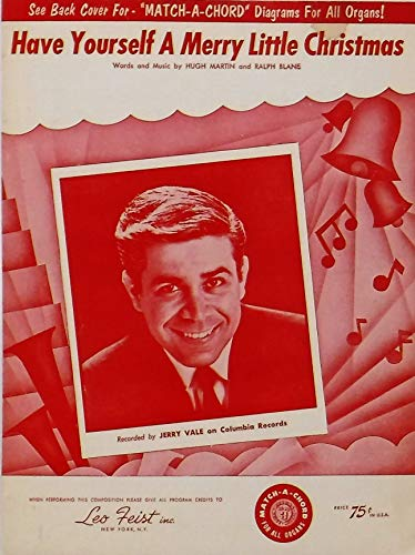 Have Yourself a Merry Little Christmas sheet music (Jerry Vale on cover)