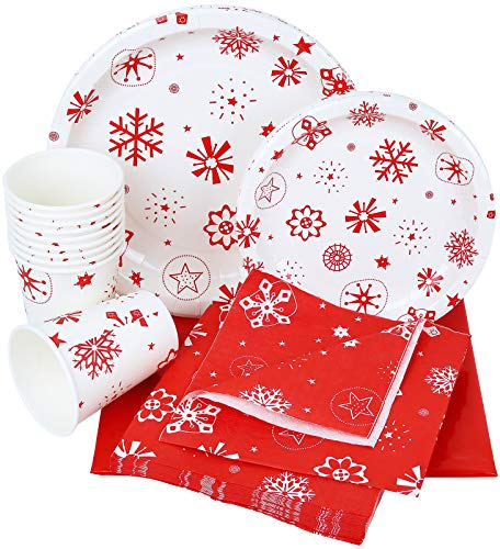 Galashield Christmas Disposable Dinnerware Set Supplies for 10 Guests Includes Paper Plates, Cups, Napkins, and Tablecloth