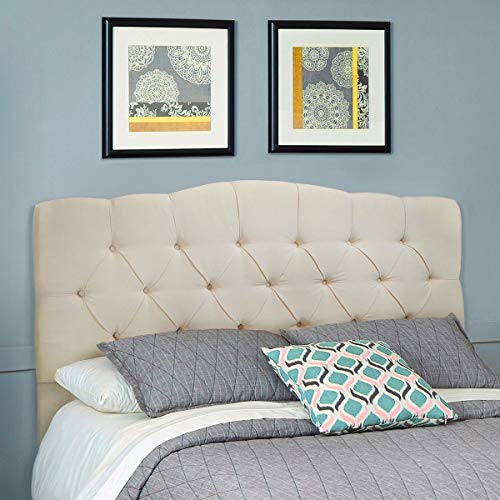 - Barton Full/Queen Cotton Upholstered Tufted Button Headboard (Beige)