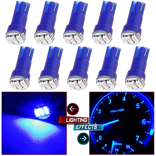 CCIYU 10 Pack Blue T5 Wedge 3-3014 SMD LED Dash Instrument Gauge Light Bulbs 37 70 73 74 1966 Mustang Parts