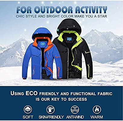Adulto esquí Desgaste y pantalones de esquí (2 Pack) Hombres con capucha de invierno al aire libre de la chaqueta de esquí de los deportes fijados a prueba de viento caliente de