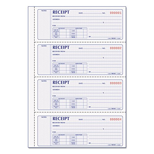 REDIFORM Office Products Money Receipt Book, 7 x 2 3/4, Carbonless Duplicate, 200 Sets/Book (8L806) ()