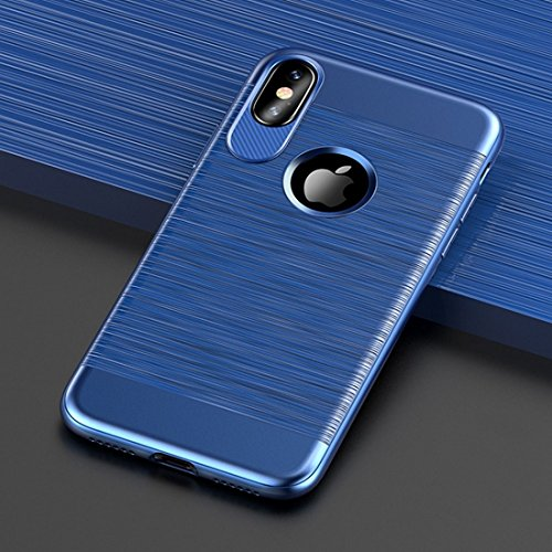 For iPhone X Brushed Texture TPU Shockproof Protective Back Case J.S.U ( Color : Blue ) good