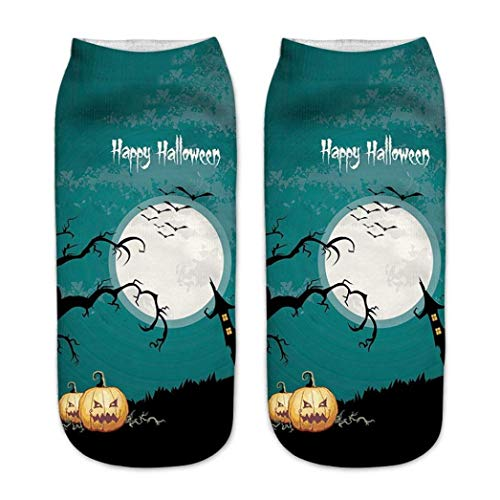 Halloween Best Gifts! Tootu Cute Pumpkin Printing Medium Sports Socks (E)