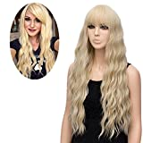 netgo Women's Golden Blonde Wigs Long Fluffy Curly