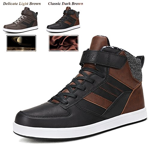 Men's Sneakers Fashion High Top Shoes Classic Skateboarding Shoes Slip-on Casual Boots Leather Street Sport Shoes Outdoor Indoor - High Top Casual Shoes