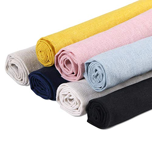 Linen Needlework Fabric, BENBO 7Pcs Assorted Colors Linen Embroidery Fabric Cross Stitch Cloth for Garments Crafts, Upholstery Flower Pot Decoration and Tablecloth, 19.7 x 19.7In